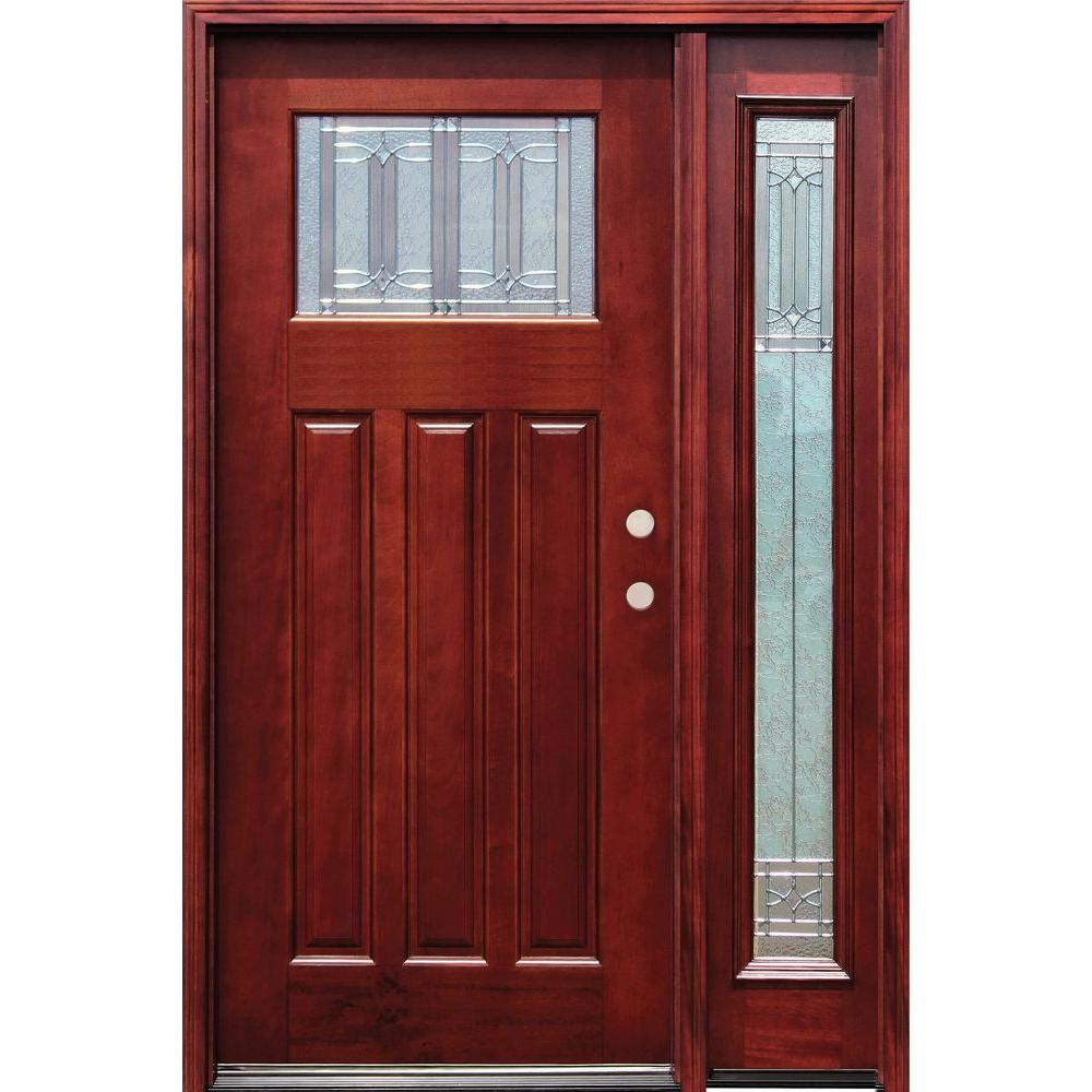 Diablo Craftsman 1 Lite Stained Mahogany Wood  sc 1 st  The Home Depot & Pacific Entries 52 in. x 80 in. Diablo Craftsman 1 Lite Stained ...
