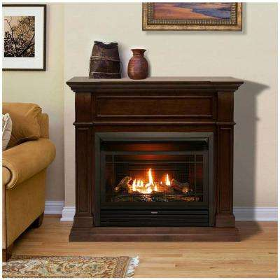 44 in. Ventless Dual Fuel Gas Fireplace in Walnut with Remote Control
