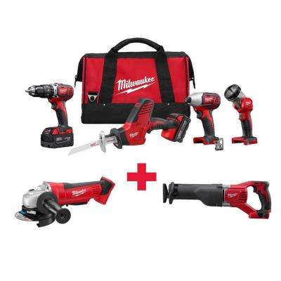 M18 18-Volt Lithium-Ion Cordless Combo Kit (4-Tool) with Free M18 Grinder and M18 Sawzall