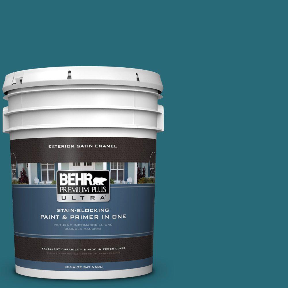 BEHR Premium Plus Ultra 5-gal. #M470-7 Blue Stream Satin Enamel Exterior Paint