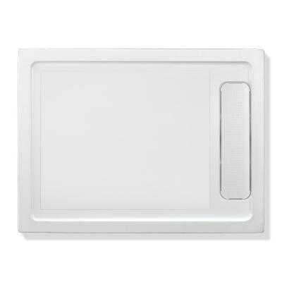 32 in. W x 48 in. L Alcove Shower Pan Base with Reversible Drain in White