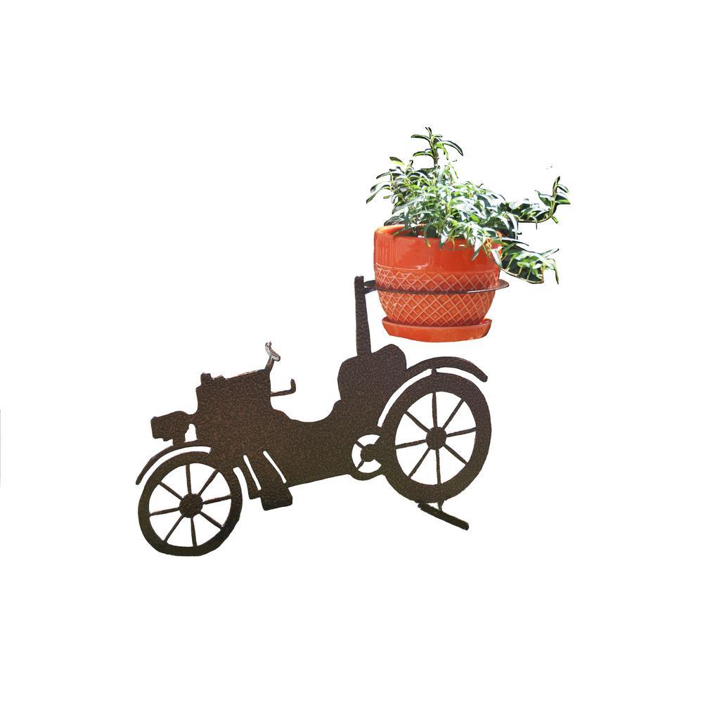Car Design Lawn Art 12.8 in. H x 19.1 in. W x 7 in. Dwith 6 in. Opening Grey Metal 3D Standing Planter