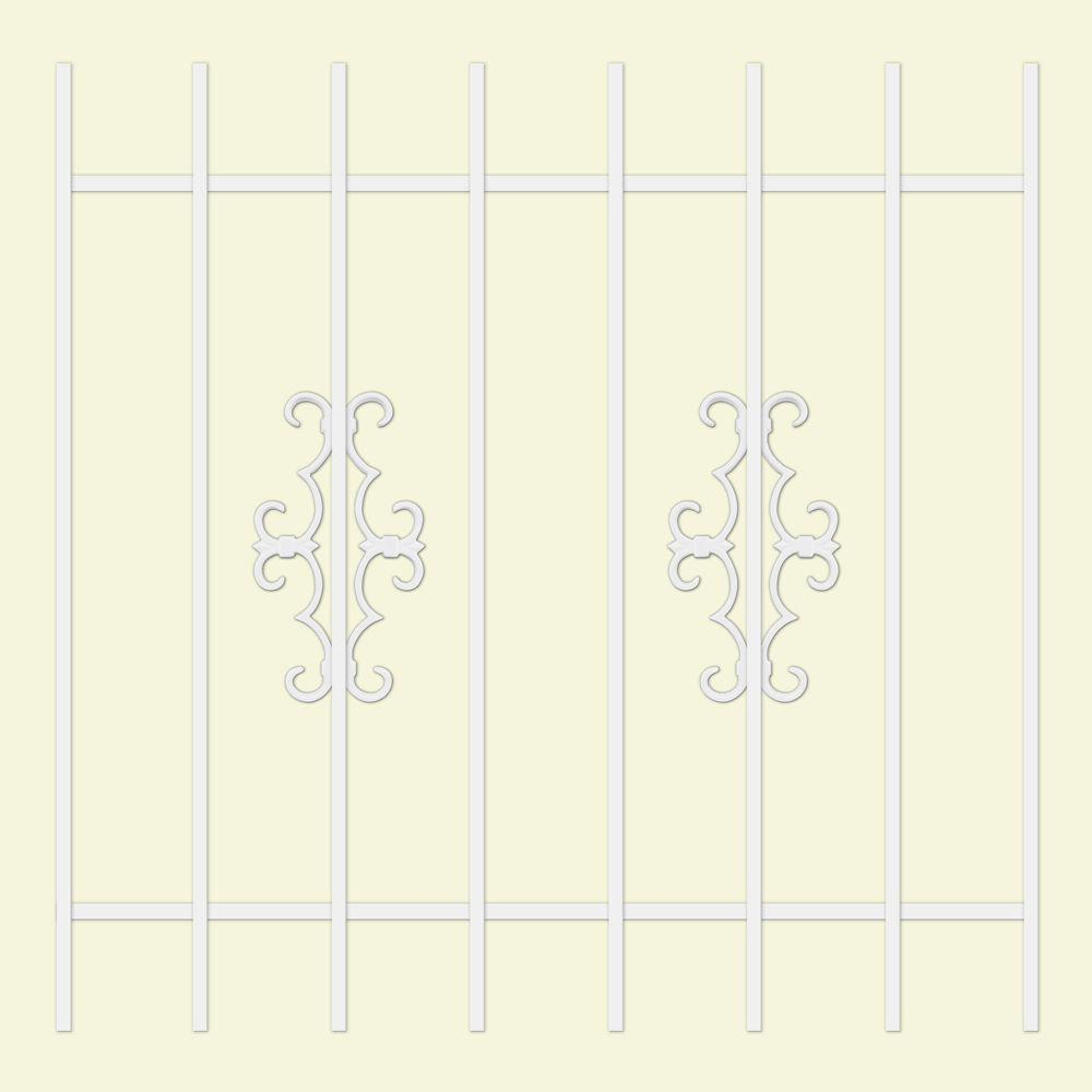Unique Home Designs Watchman Trio 42 in. x 42 in. White 8-Bar Window Guard-DISCONTINUED