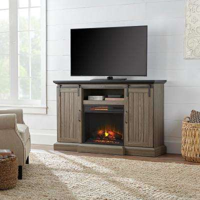 Chastain 56 in. Freestanding Media Console Electric Fireplace TV Stand with Sliding Barn Door in Ash