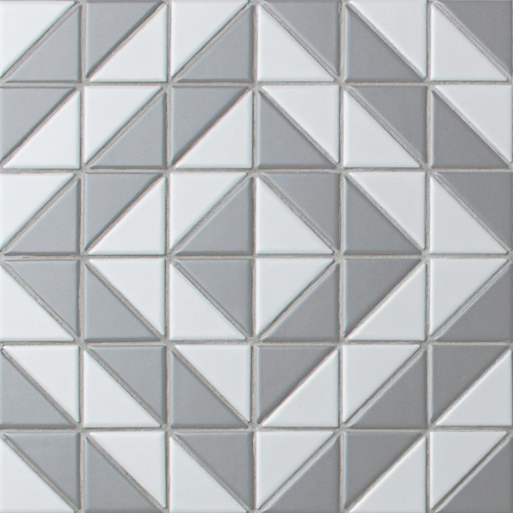 Merola Tile Tre Duel Boomerang White and Grey 10-3/4 in. x 10-3/4 in. x 6 mm Porcelain Mosaic Tile