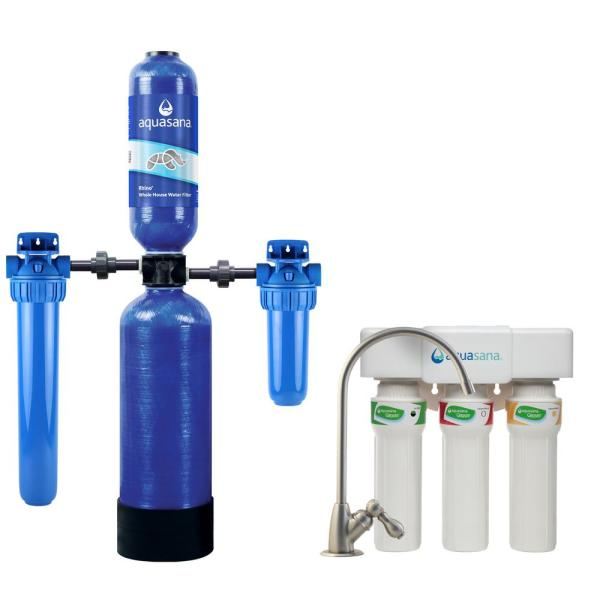 Rhino 4-Stage 300,000 Gal. Whole House Water Filtration System and 3-Stage Max Flow Under Counter Water System