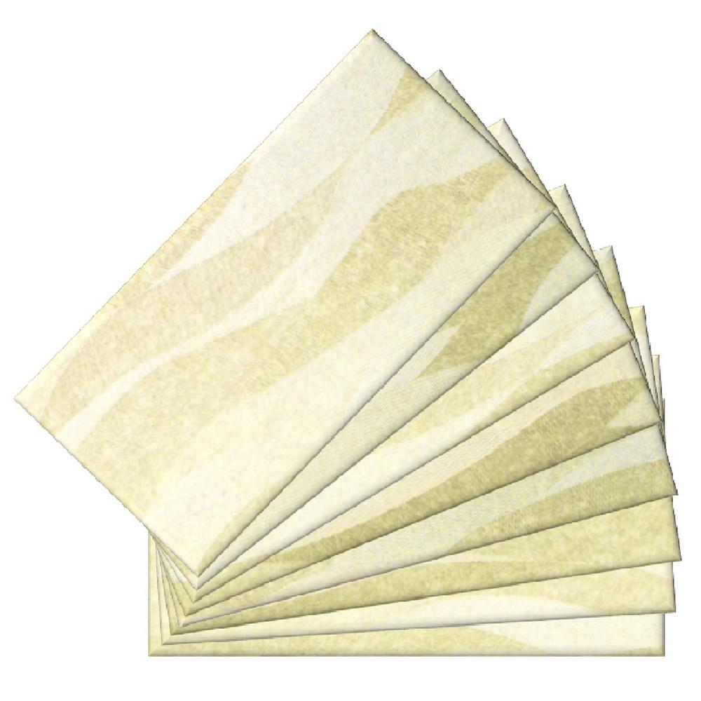 SkinnyTile Peel and Stick Sand Dunes Shades Glass Wall Tile - 6 in ...