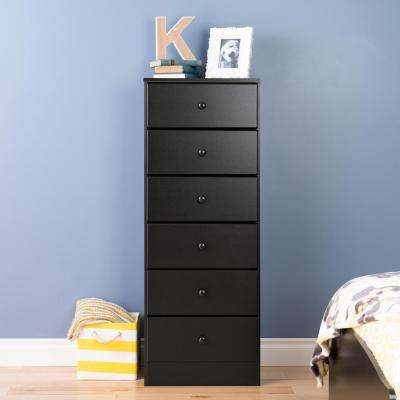 Astrid 6-Drawer Black Chest