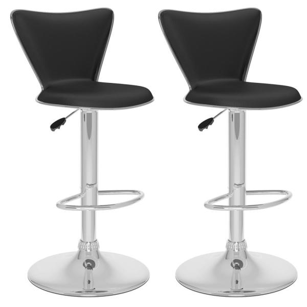 CorLiving Adjustable Black Leatherette Tall Curved Back Bar Stool (Set of