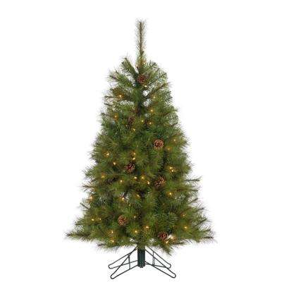 4 ft. Hard Mixed Needle Charleston Artificial Christmas Tree with 150 Clear Lights