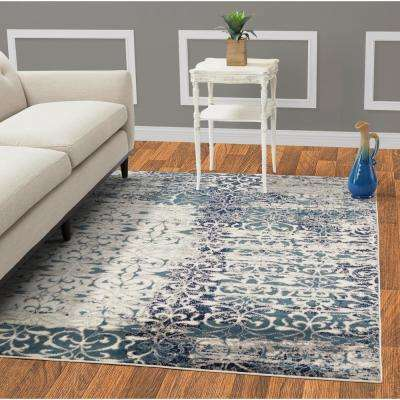Jasmin Collection Floral Design Teal and Ivory 5 ft. x 7 ft. Area Rug