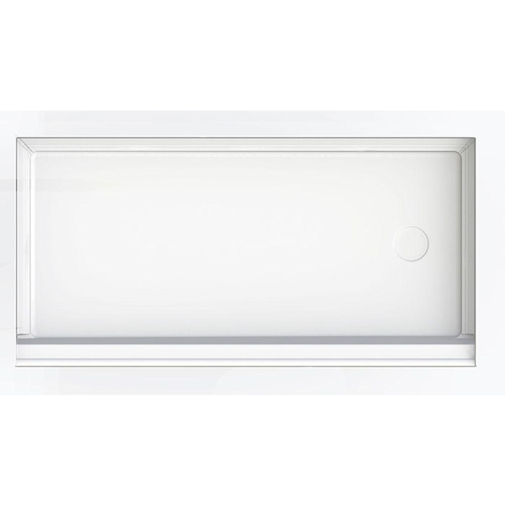 30 in. x 60 in. Single Threshold Shower Base in White