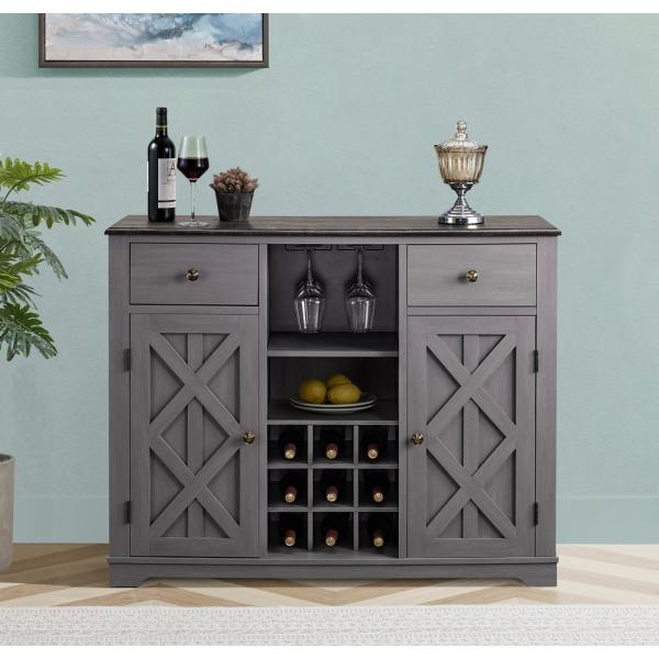 Gray Wood Bar Cabinet with Brushed Nickel Knobs