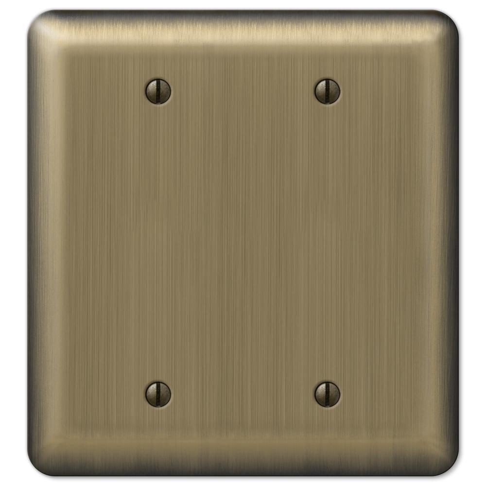 Brass 2-Gang Blank Plate Wall Plate (1-Pack)