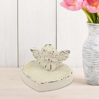 Rustic White Cast Iron Cherub Tray
