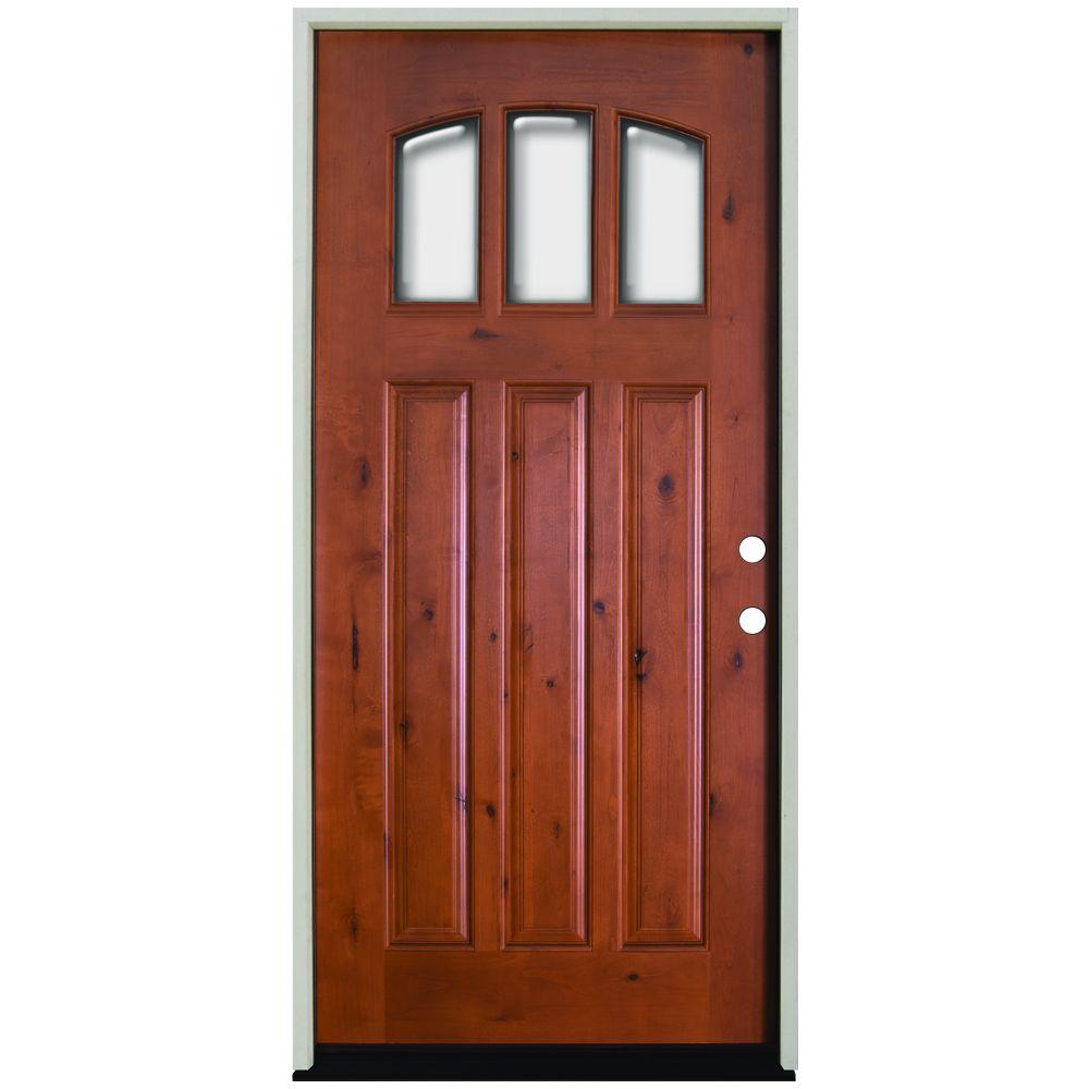 36 in. x 80 in. Craftsman 3 Lite Arch Stained Knotty