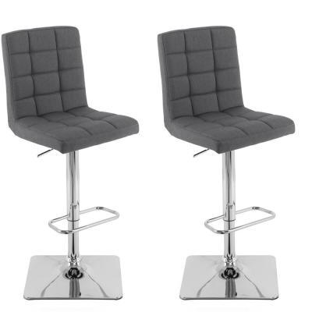 Adjustable Height Dark Grey Square Tufted Fabric Bar Stool (Set of 2)