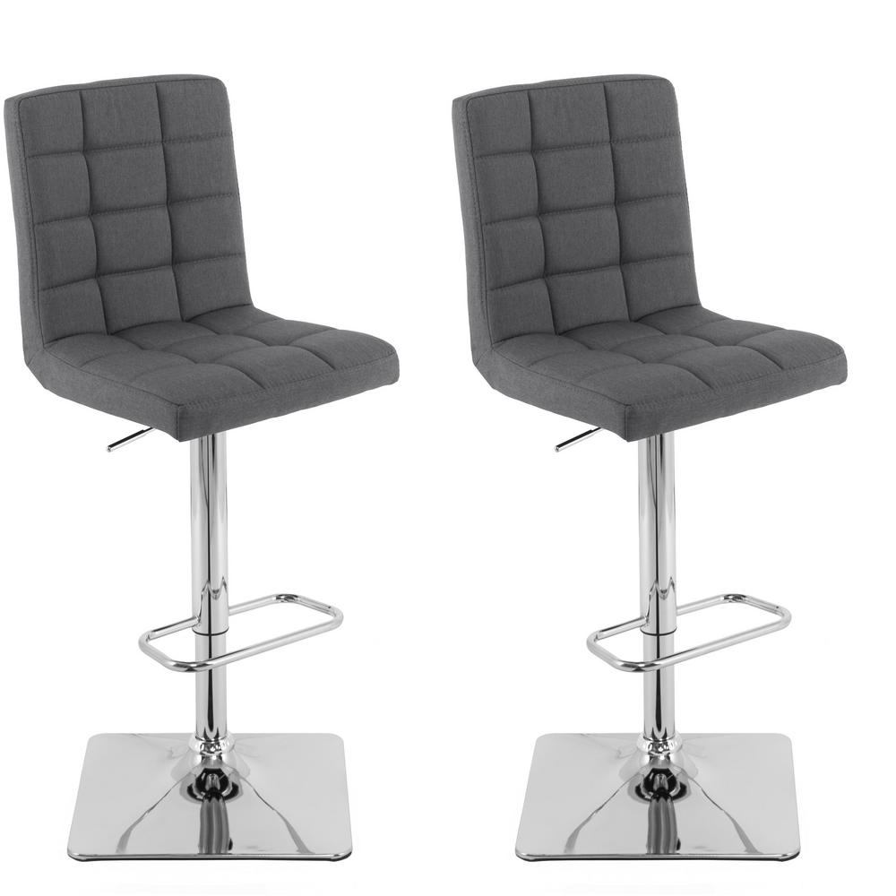 Corliving Adjule Height Dark Grey Square Tufted Fabric Bar Stool Set Of 2
