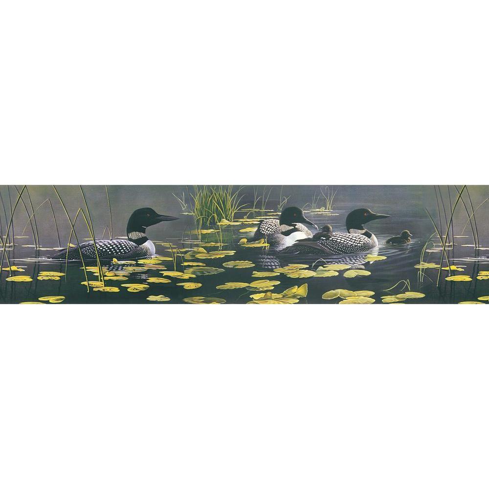 Brewster Northwoods Lodge Duck Pond Wallpaper Border, Black