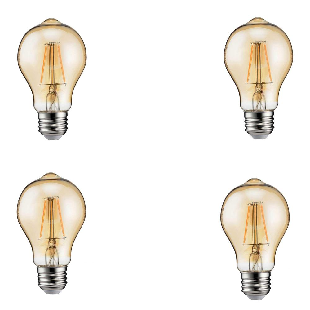 60-Watt Equivalent A19 Dimmable LED Vintage Amber Light Bulb (4-Pack)