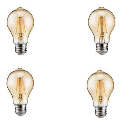 60-Watt Equivalent A19 Dimmable Vintage Edison Glass Indoor/Outdoor LED Light Bulb Amber Warm Light (2200K) (4-Pack)