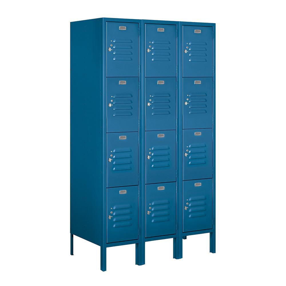 64000 Series 4-Tier 36 in. W x 66 in. H x 18 in. D Metal Locker Ready to Assemble in Blue