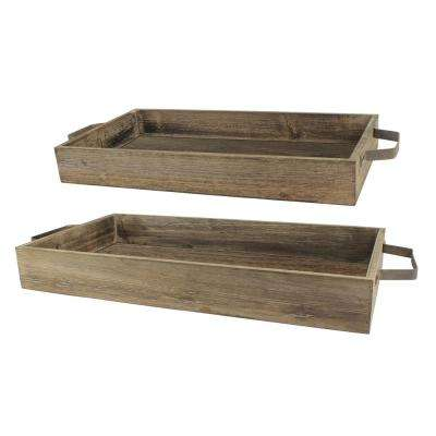11 in. x 3 in. Rustic Wood and Metal Trays (Set of 2)