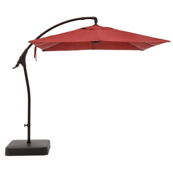 8 ft. Square Aluminum Cantilever Offset Outdoor Patio Umbrella in Chili Red