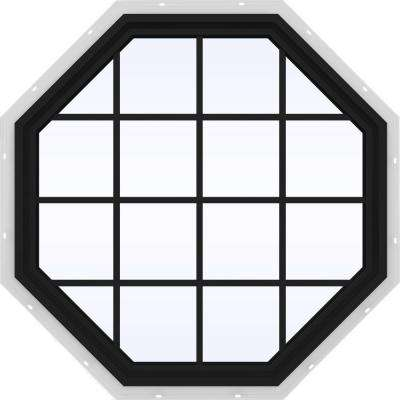 47.5 in. x 47.5 in. V-4500 Series Fixed Octagon Vinyl Window with Grids - Bronze