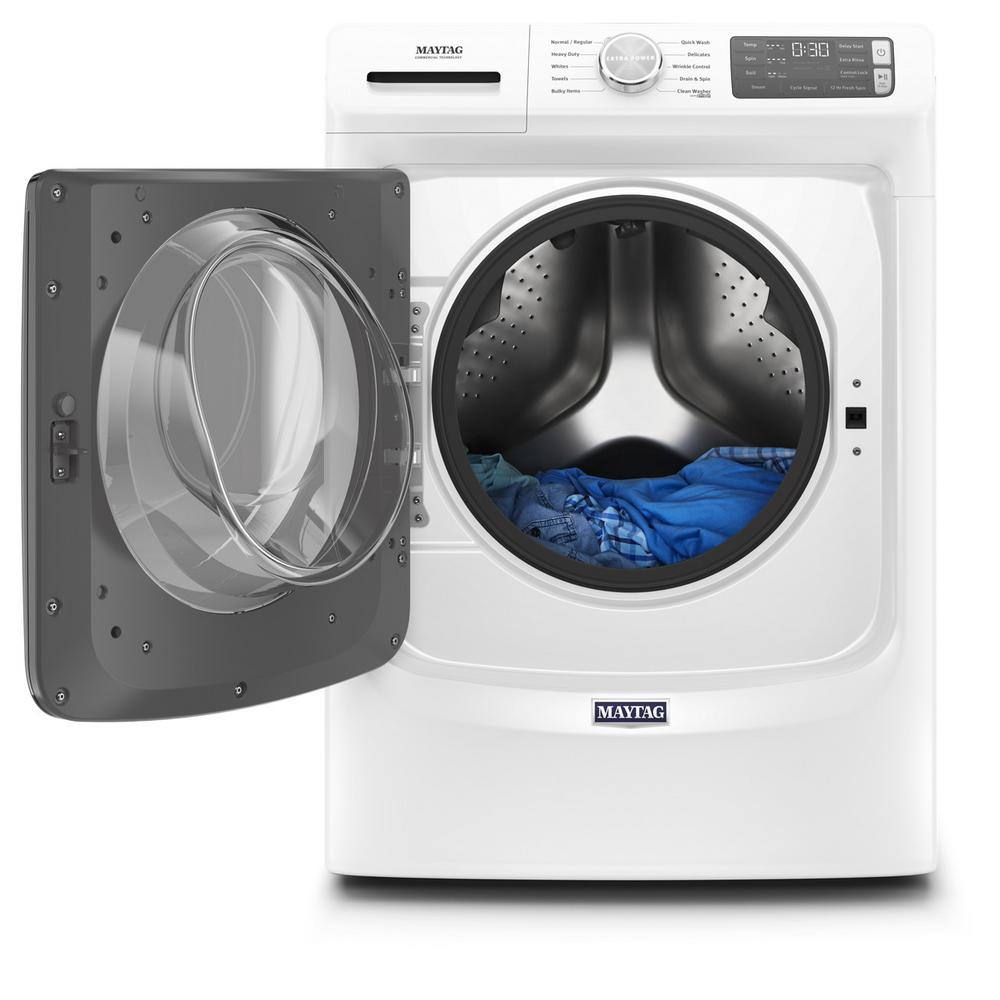 Maytag 4 5 Cu Ft White Stackable Front Load Washing Machine With 12 Hour Fresh Spin Energy Star Mhw5630hw The Home Depot