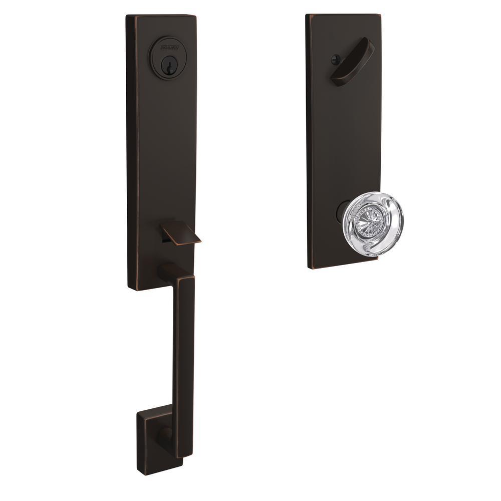 Custom Century Aged Bronze 3/4 Trim Single Cylinder Door Handleset with Hobson Glass Door Knob