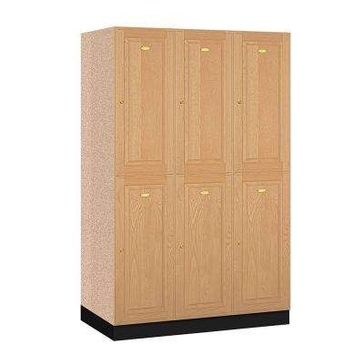 12000 Series 48 in. W x 76 in. H x 21 in. D 2-Tier Solid Oak Executive Locker in Light Oak