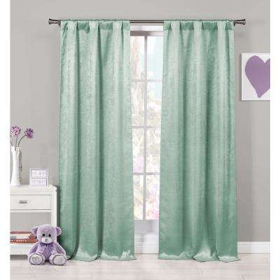 Solid Seafoam Polyester Blackout Grommet Window Curtain - 37 in. W x 84 in. L (2-Pack)