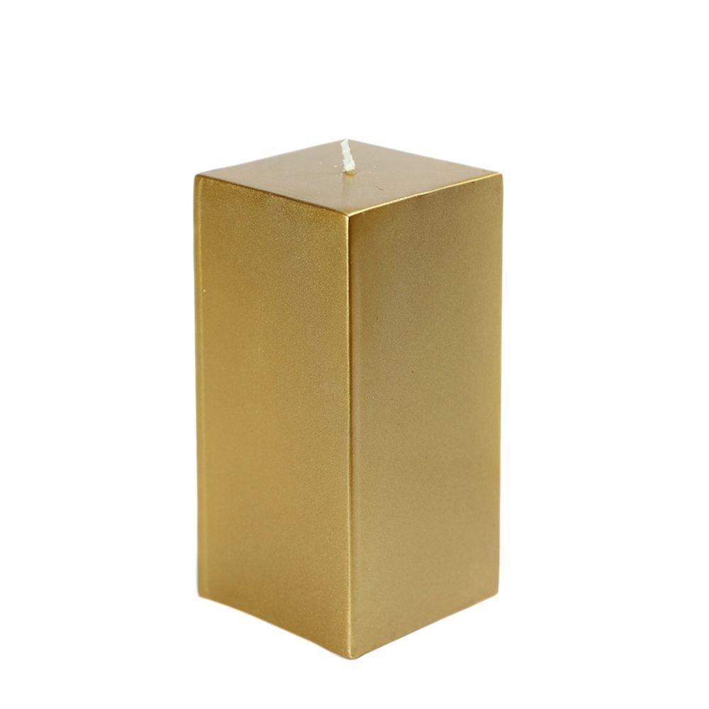 3 in. x 6 in. Metallic Bronze Gold Square Pillar Candle Bulk (12-Box)