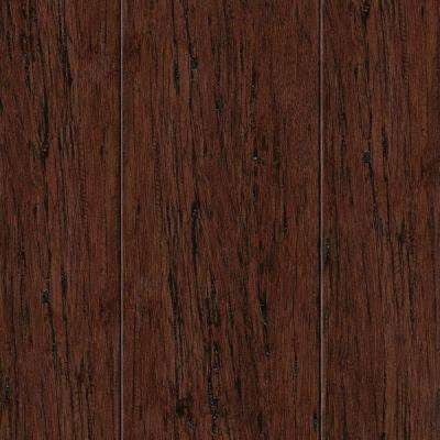 Take Home Sample - Hand Scraped Strand Woven Mocha Bamboo Flooring - 5 in. x 7 in.