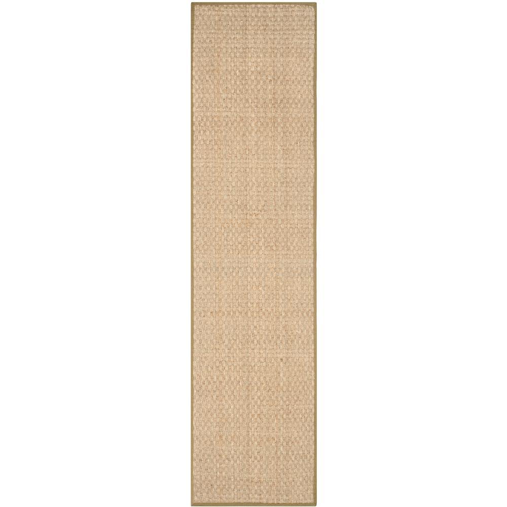 Natural Fiber Beige/Olive 3 ft. x 16 ft. Indoor Runner Rug