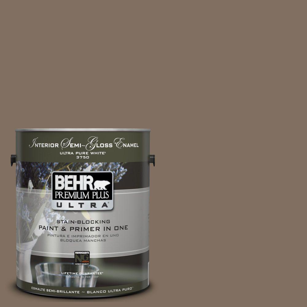 BEHR Premium Plus Ultra 1 gal. #UL160-21 Mocha Latte Semi-Gloss Enamel Interior Paint and Primer in One