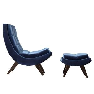 Internet #203750632. HomeSullivan Blue Velvet Chair With Ottoman
