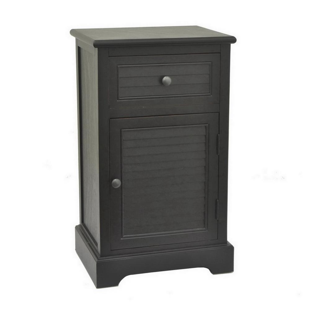 28.25 in. Black Wood Cabinet