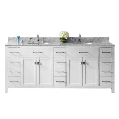 Caroline Parkway 79 in. W Bath Vanity in White with Marble Vanity Top in White with Round Basin