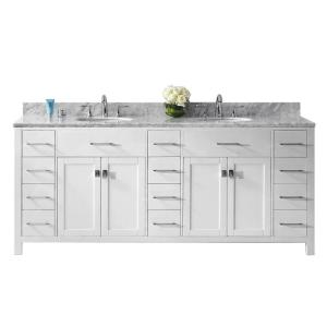 Virtu USA Caroline Parkway 78 inch W x 22 inch D Double Vanity in White with Marble Vanity Top in White with White Basin by Virtu USA