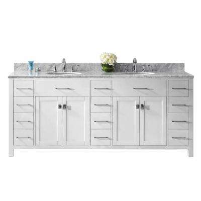 Caroline Parkway 78 in. W x 22 in. D Double Vanity in White with Marble Vanity Top in White with White Basin