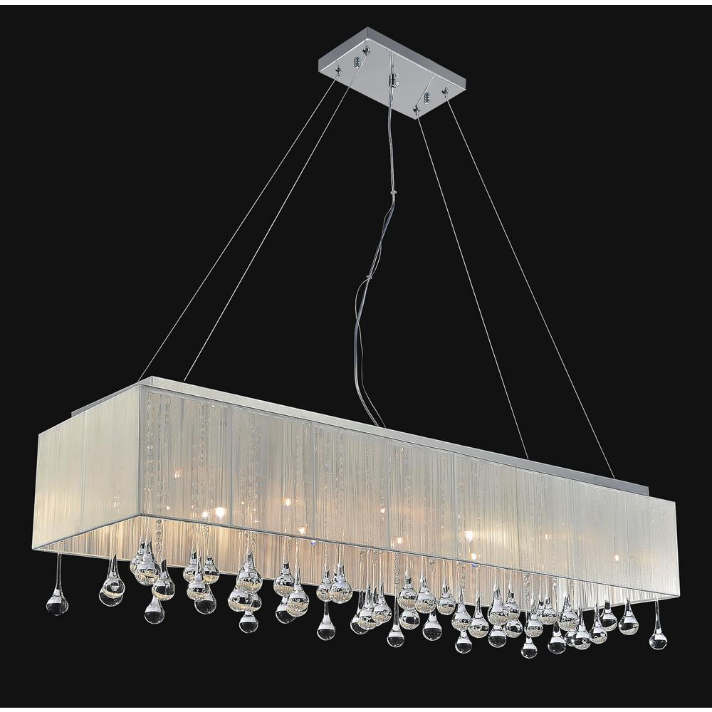 Cwi Lighting Water Drop 17 Light Chrome Chandelier With White Shade
