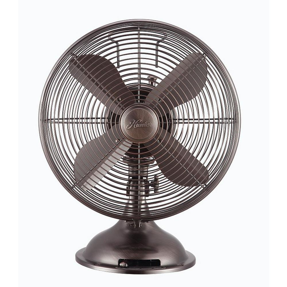 Retro 12 in. 3 Speed Oscillating Table Fan with All-Metal Construction