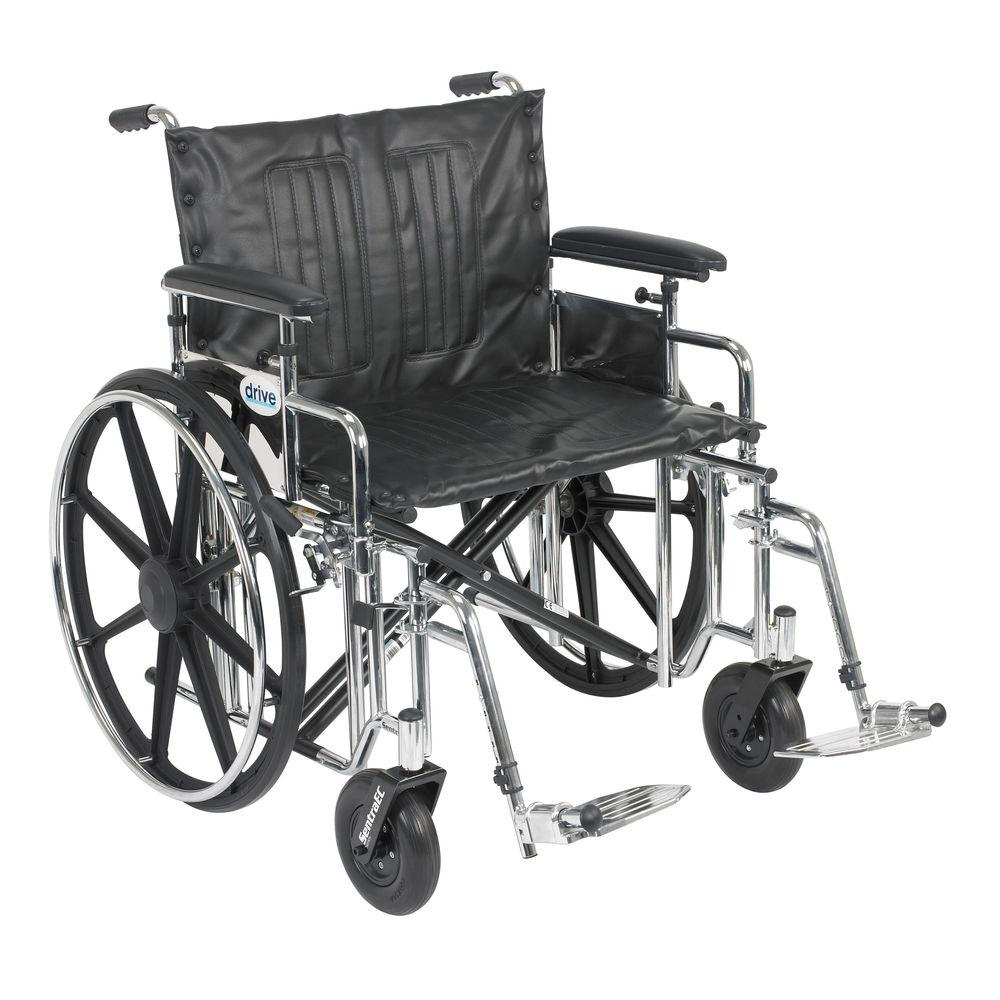 Drive Sentra Extra Heavy Duty Wheelchair with Detachable Adjustable Full Arms and Swing-Away Footrest