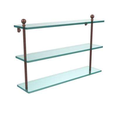 Mambo 22 in. L  x 15 in. H  x 5 in. W 3-Tier Clear Glass Bathroom Shelf in Antique Copper