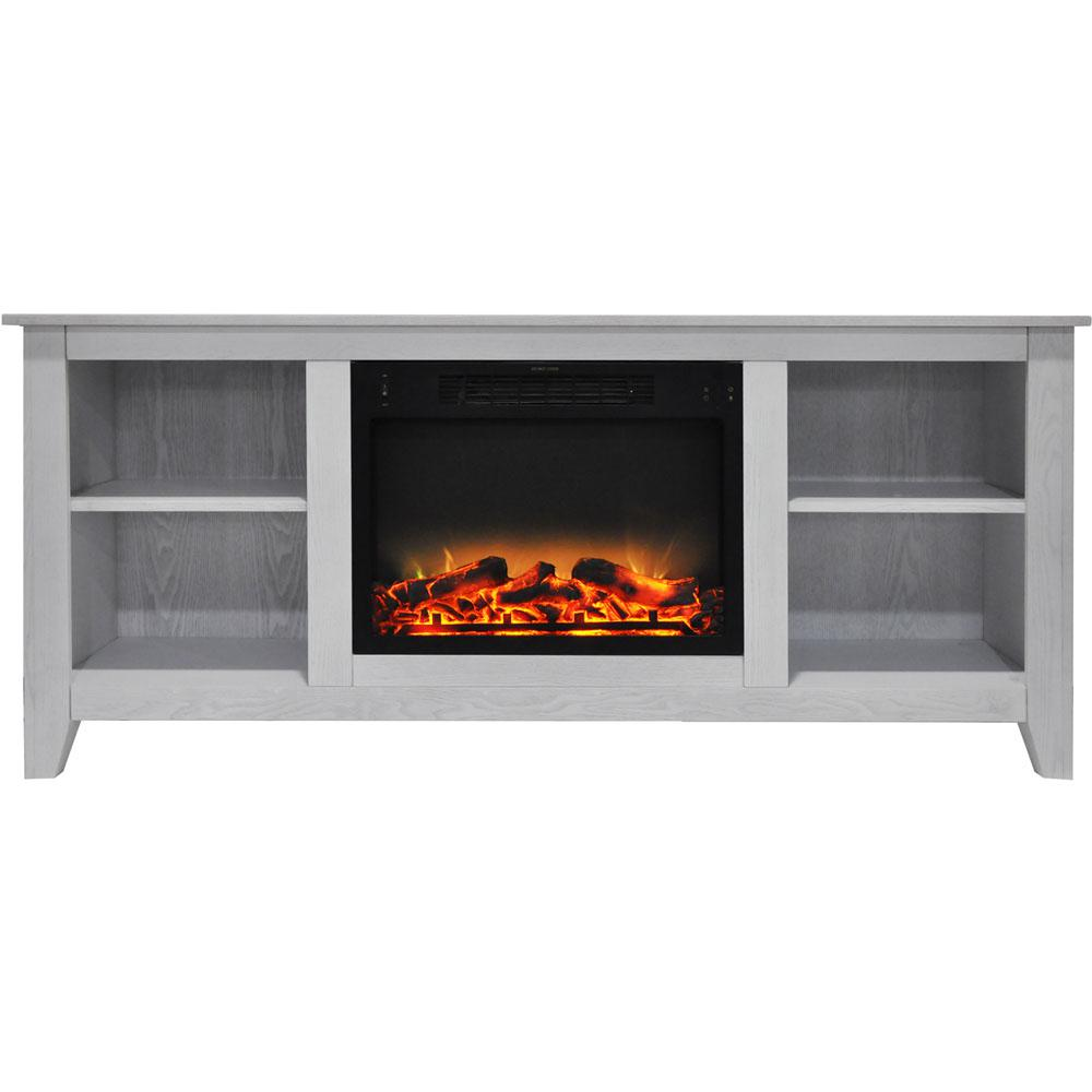 Santa Monica 63 in. Electric Fireplace and Entertainment Stand in White