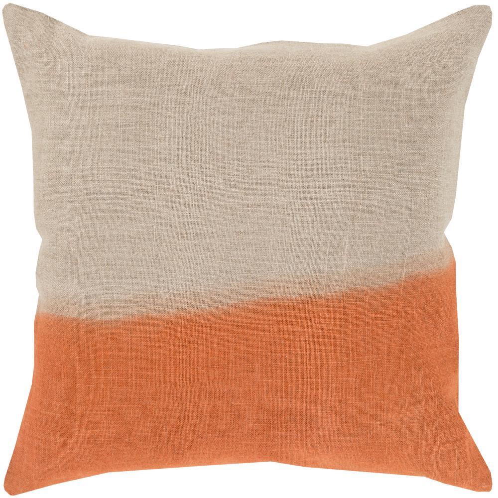 Roxbury Orange Striped Polyester 20 in. x 20 in. Throw Pillow