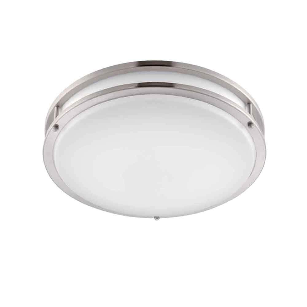 EnviroLite 14 in Brushed Nickel White LED Ceiling Low Profile