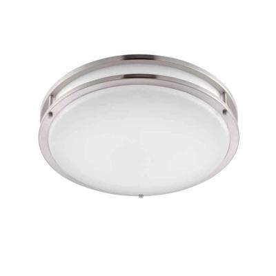 14 in. Brushed Nickel/White LED Ceiling Low-Profile Flushmount